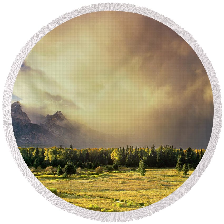 North America Round Beach Towel featuring the photograph Clearing Summer Storm Grand Tetons National Park by Dave Welling
