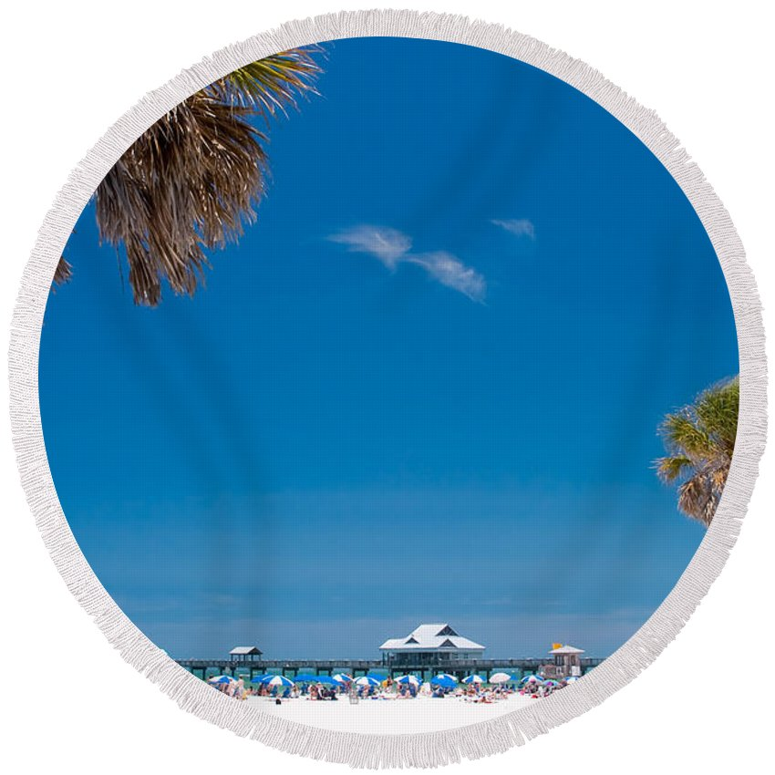3scape Round Beach Towel featuring the photograph Clearwater Beach by Adam Romanowicz