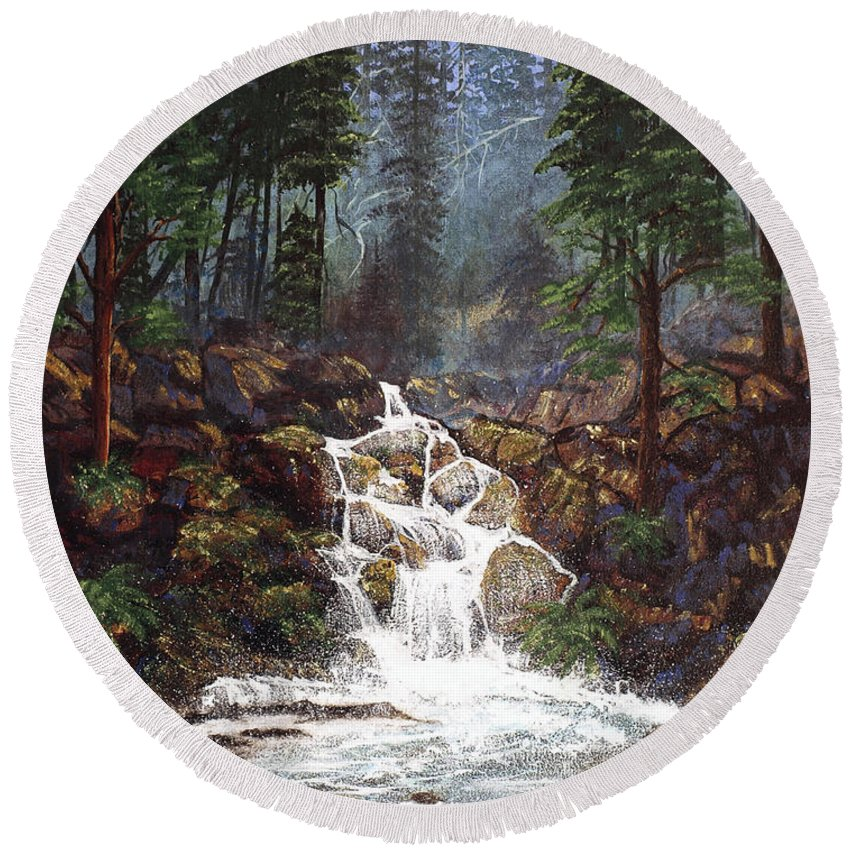 Waterfall Round Beach Towel featuring the painting Clearwater Falls by Diane Schuster