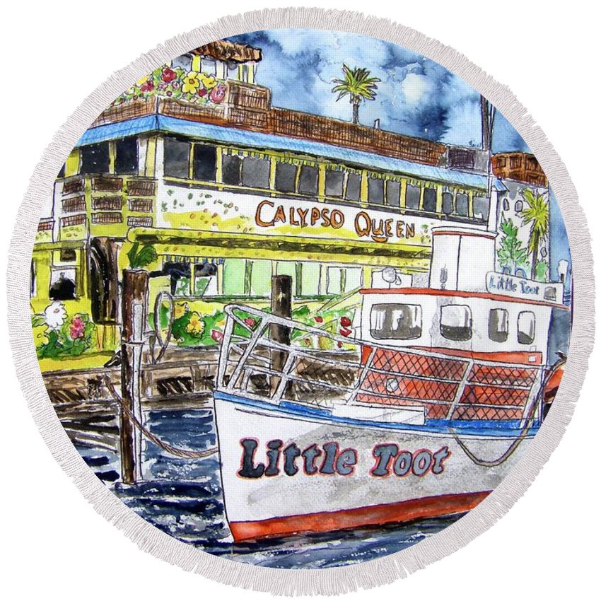 Seascape Round Beach Towel featuring the painting Clearwater Florida Boat Painting by Derek Mccrea