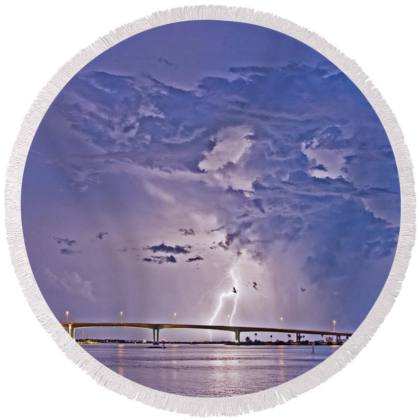 Clouds Round Beach Towel featuring the photograph Clearwater Memorial Bridge II by Stephen Whalen