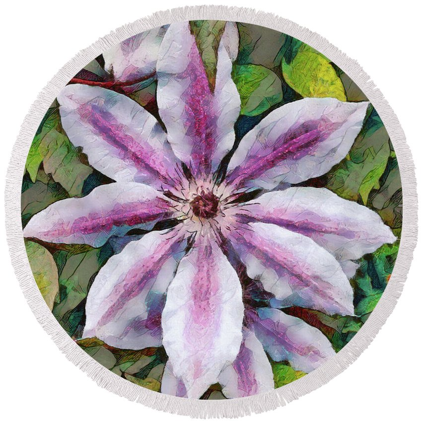 Flower Round Beach Towel featuring the photograph Clematis Camille by Jack Torcello