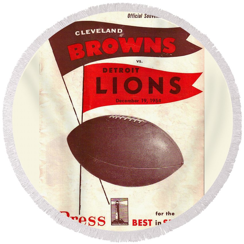 Browns Round Beach Towel featuring the photograph Cleveland Browns Vintage Program 4 by Joe Hamilton