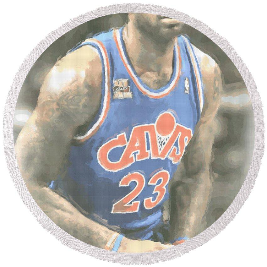 Lebron James Round Beach Towel featuring the photograph Cleveland Cavaliers Lebron James 1 by Joe Hamilton