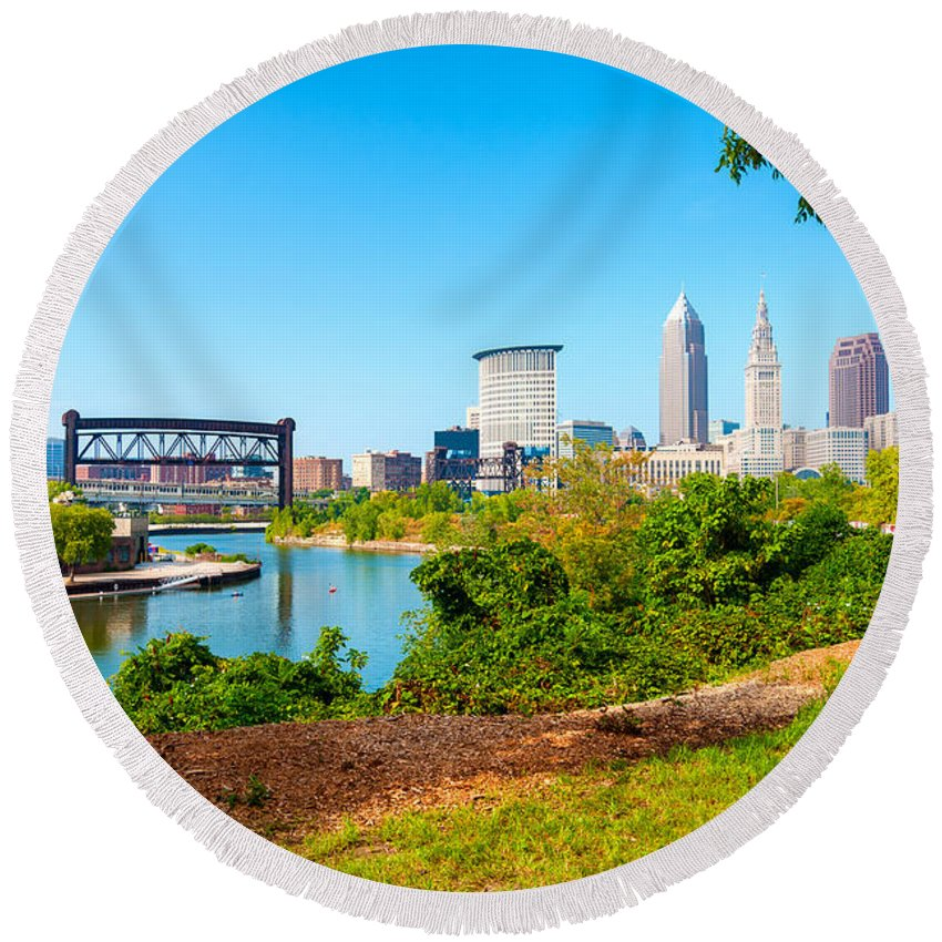 Cleveland Round Beach Towel featuring the photograph Cleveland Cityscape by Kenneth Sponsler
