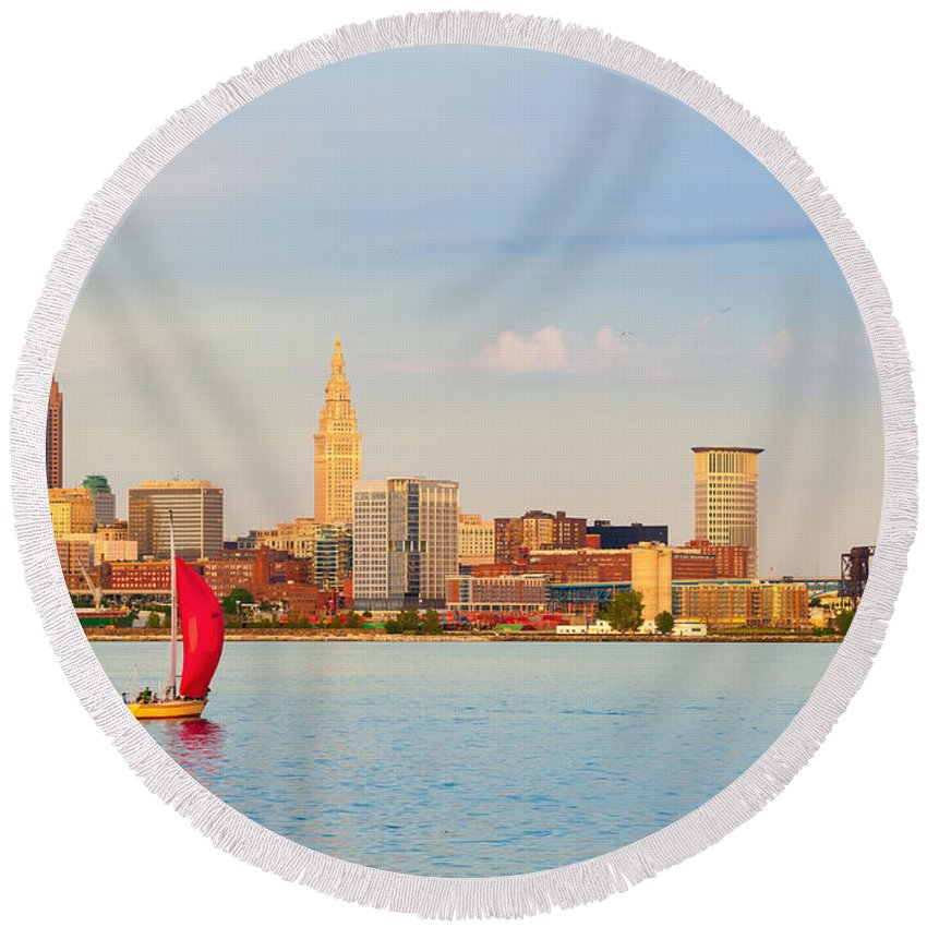 Cleveland Round Beach Towel featuring the photograph Cleveland On The Lake by Kenneth Sponsler