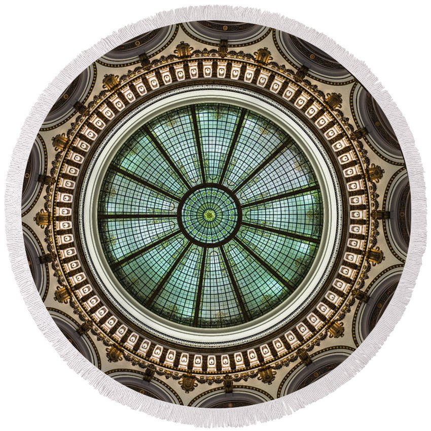 Cleveland Round Beach Towel featuring the photograph Cleveland Trust Rotunda Building Ceiling by Kenneth Lempert
