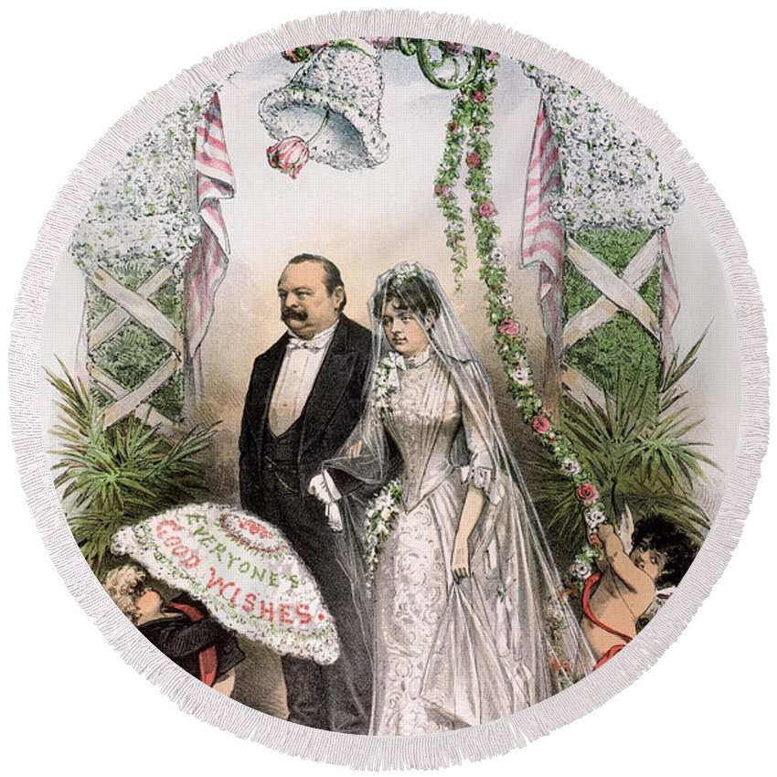 1886 Round Beach Towel featuring the photograph Clevelands Wedding, 1886 by Granger