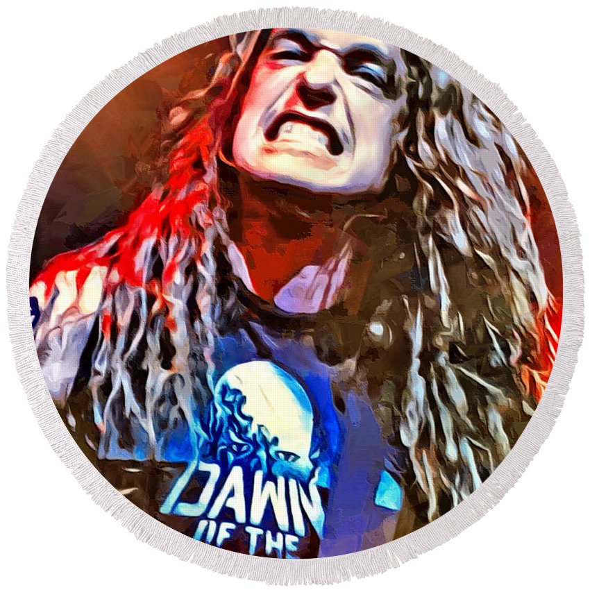 Cliff Burton Round Beach Towel featuring the digital art Cliff Burton Portrait by Scott Wallace Digital Designs