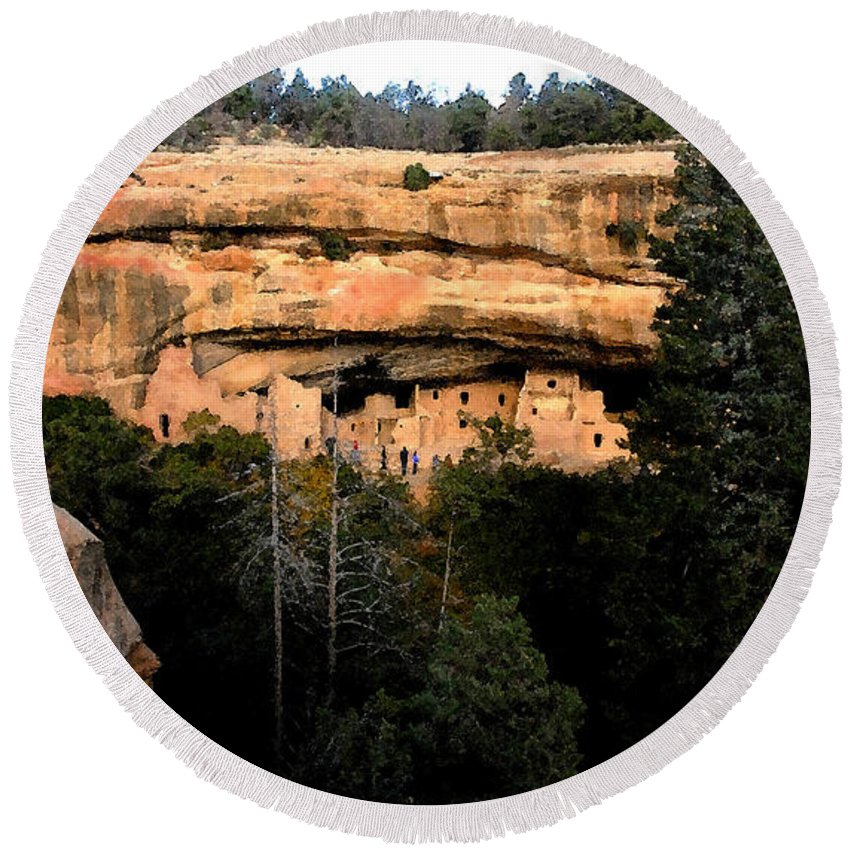 Cliff Dwellings Round Beach Towel featuring the painting Cliff Dwelling by David Lee Thompson