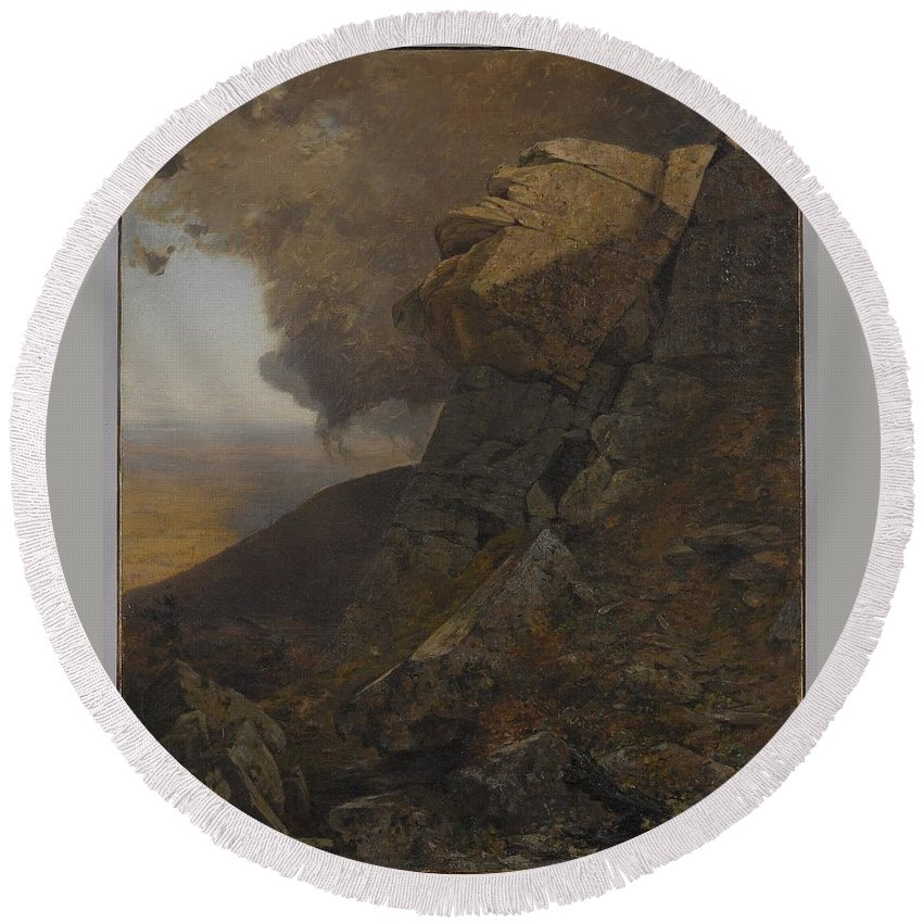 Jervis Mcentee (american Round Beach Towel featuring the painting Cliff In The Katskills by MotionAge Designs
