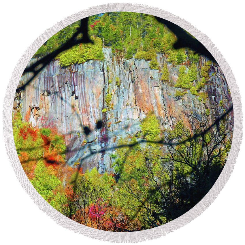 Cliff Round Beach Towel featuring the photograph Cliff by Joseph F Safin