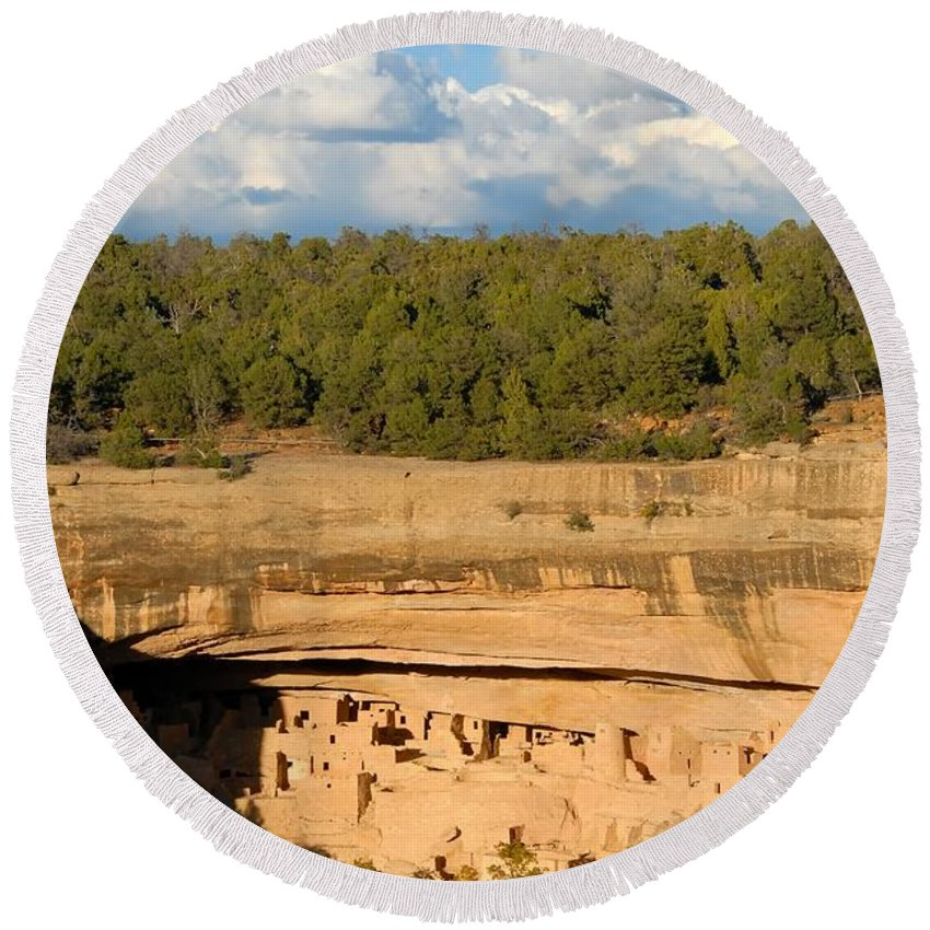Cliff Palace Round Beach Towel featuring the photograph Cliff Palace Landscape by David Lee Thompson