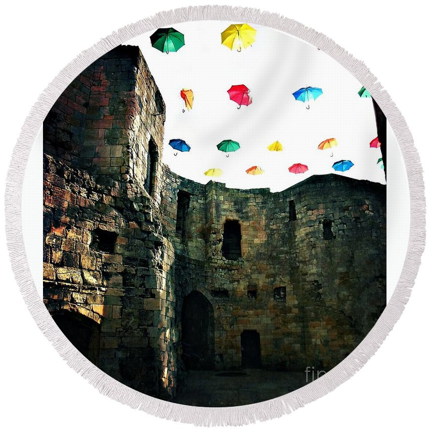 Cliffords Tower Round Beach Towel featuring the photograph Clifford's Tower by M Welch