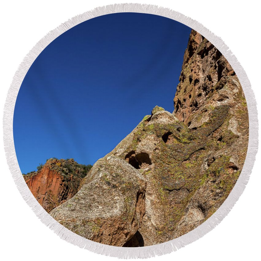 Bandelier Round Beach Towel featuring the photograph Cliffs At Bandelier by Stuart Litoff