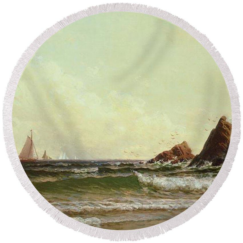 Cliffs At Cape Elizabeth Round Beach Towel featuring the painting Cliffs At Cape Elizabeth by Alfred Thompson Bricher