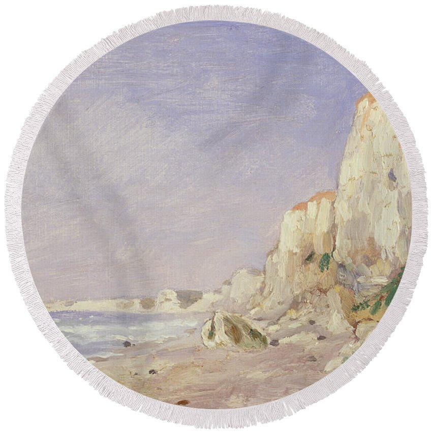 Falaise Pres Dieppe Round Beach Towel featuring the painting Cliffs Near Dieppe by Adolphe-Felix Cals