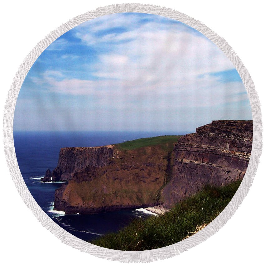 Irish Round Beach Towel featuring the photograph Cliffs Of Moher Aill Na Searrach Ireland by Teresa Mucha
