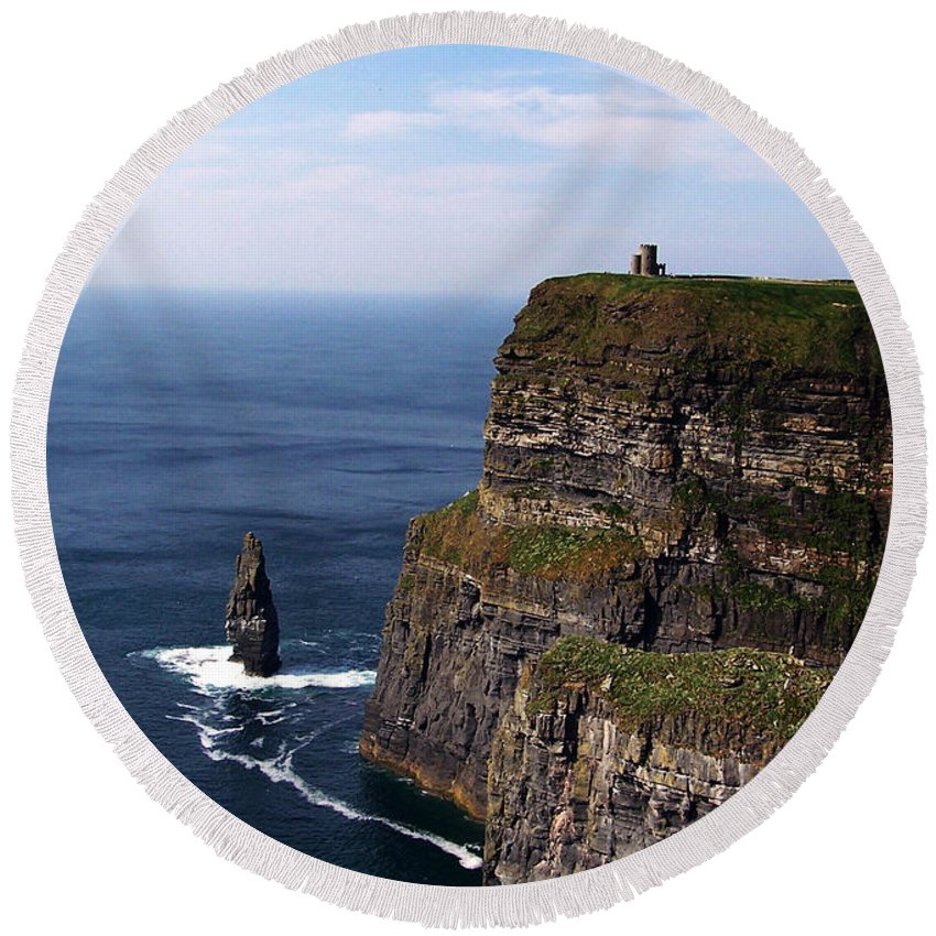 Irish Round Beach Towel featuring the photograph Cliffs Of Moher County Clare Ireland by Teresa Mucha