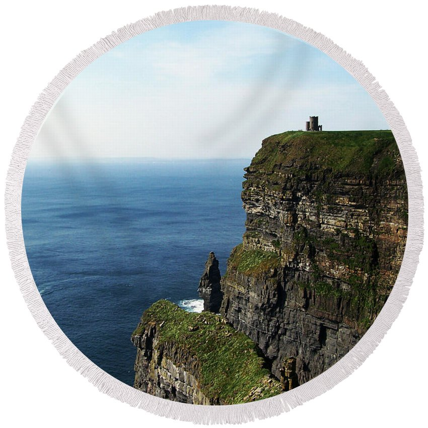 Irish Round Beach Towel featuring the photograph Cliffs Of Moher Ireland by Teresa Mucha