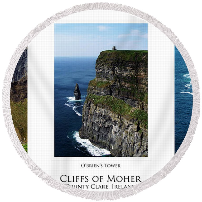 Irish Round Beach Towel featuring the photograph Cliffs Of Moher Ireland Triptych by Teresa Mucha