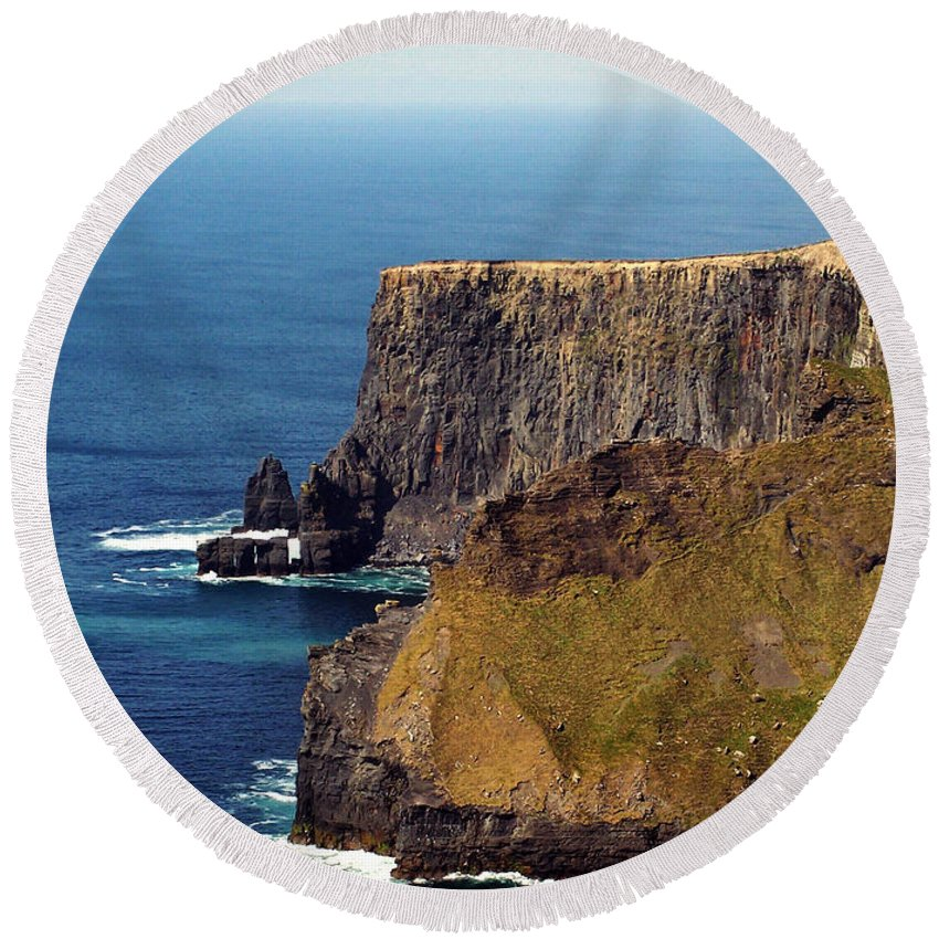 Irish Round Beach Towel featuring the photograph Cliffs Of Moher Ireland View Of Aill Na Searrach by Teresa Mucha
