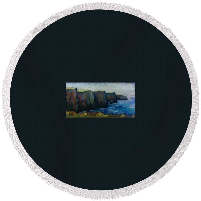 Seascape Round Beach Towel featuring the pastel Cliffs Of Moher by Pat Snook