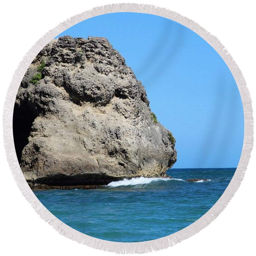 Beach Round Beach Towel featuring the photograph Cliffs On The Beach Dominican Republic by Robert Smith