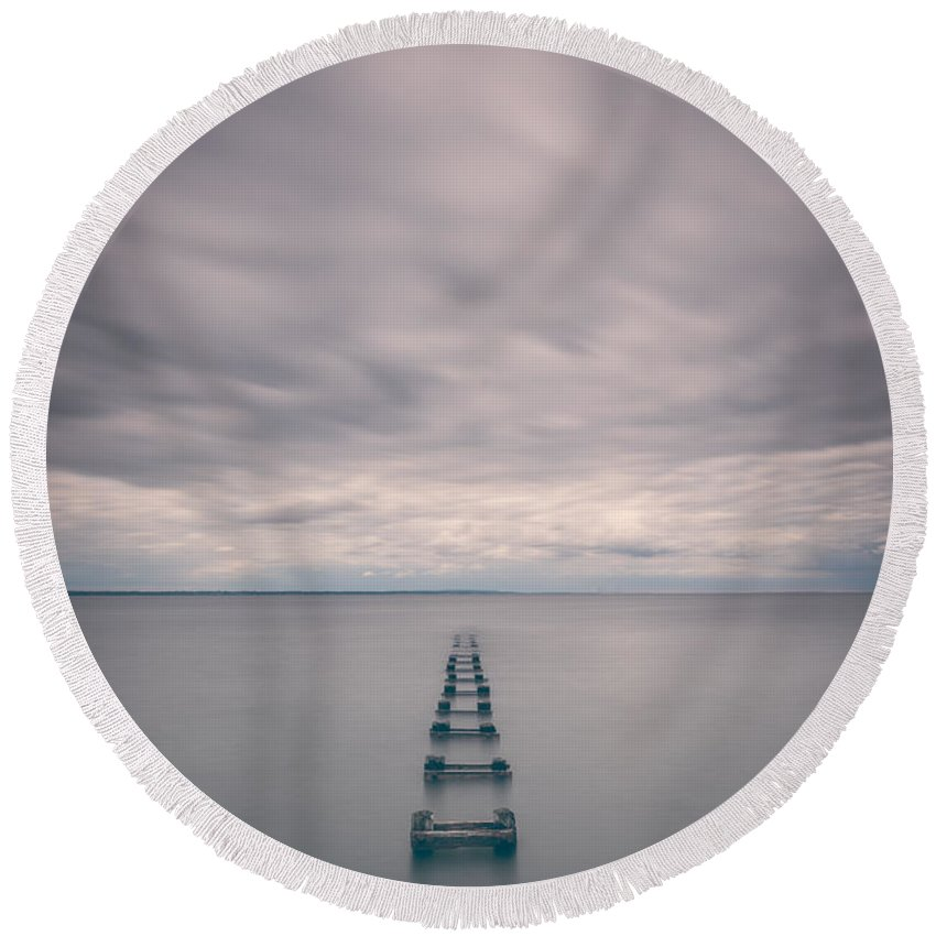 Cliffwood Round Beach Towel featuring the photograph Cliffwood Sea Wall Vertical by Michael Ver Sprill