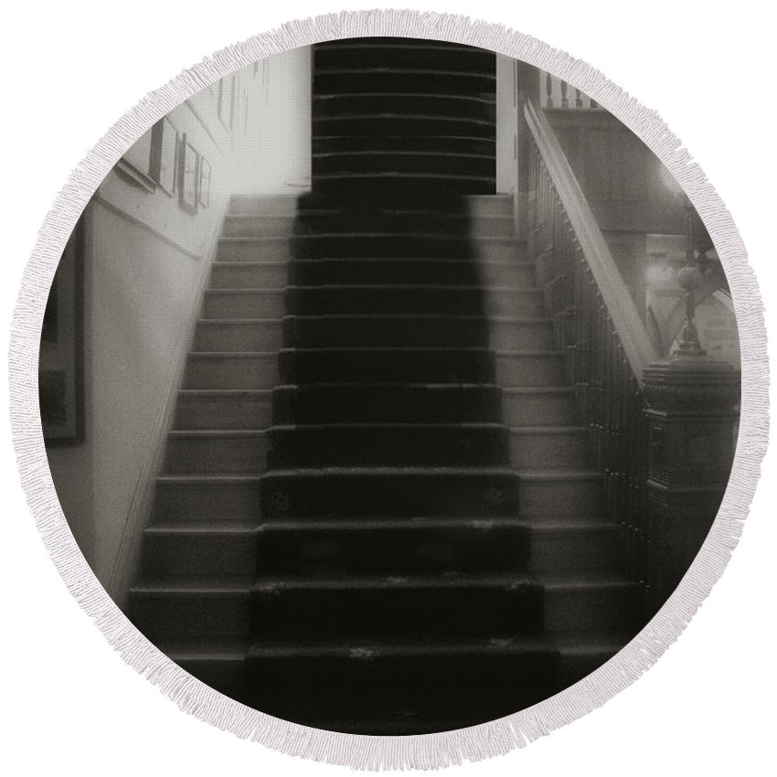 Black And White Round Beach Towel featuring the photograph Climbing Toward The Unknown by RC DeWinter