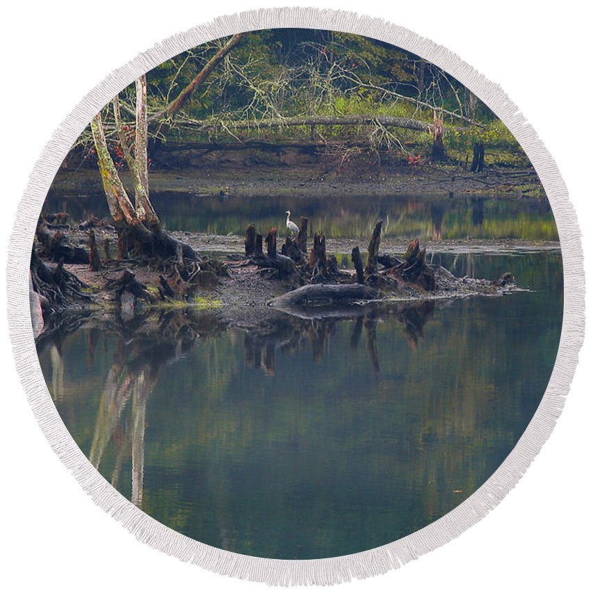 Round Beach Towel featuring the photograph Clinch River Beauty by Douglas Stucky