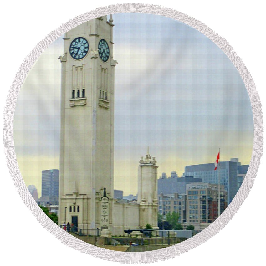 Montreal Round Beach Towel featuring the photograph Clock Tower Montreal 1 by Randall Weidner