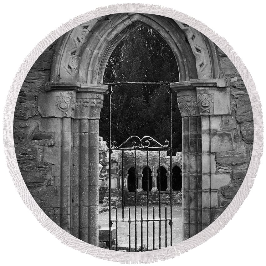 Irish Round Beach Towel featuring the photograph Cloister View Cong Abbey Cong Ireland by Teresa Mucha