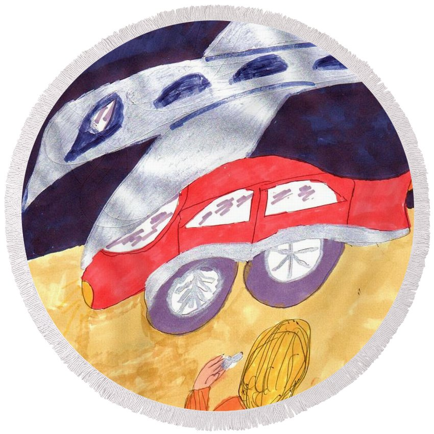 Plane Landing Near A Red Car Round Beach Towel featuring the mixed media Close To My New Car by Elinor Helen Rakowski