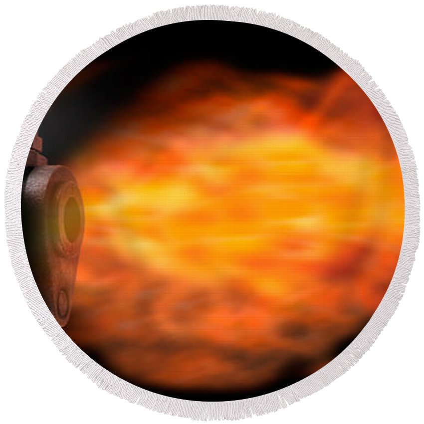 Photography Round Beach Towel featuring the photograph Close-up Of A Gun Firing A Bullet by Panoramic Images