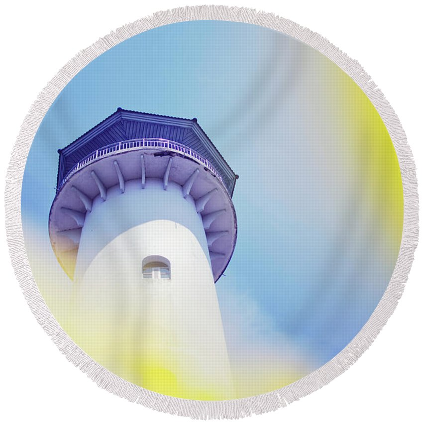 Above Round Beach Towel featuring the photograph Close Up Of A Lighthouse Building by Srdjan Kirtic