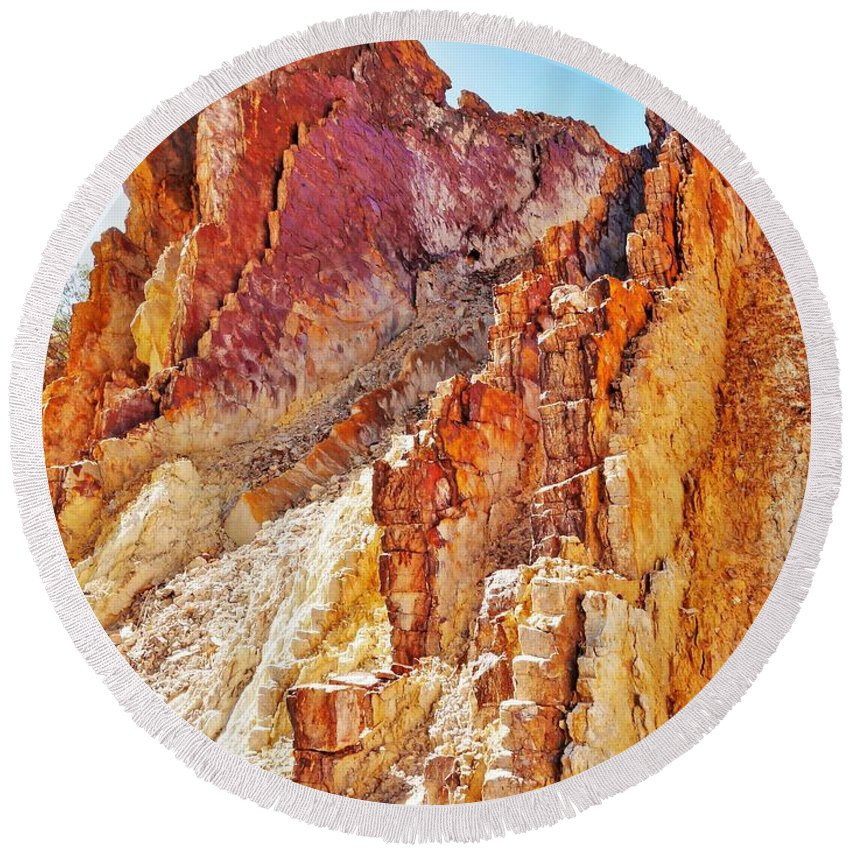 'australia Rocks' Series By Lexa Harpell Round Beach Towel featuring the photograph Ochre Pits - West Mcdonald Ranges by Lexa Harpell