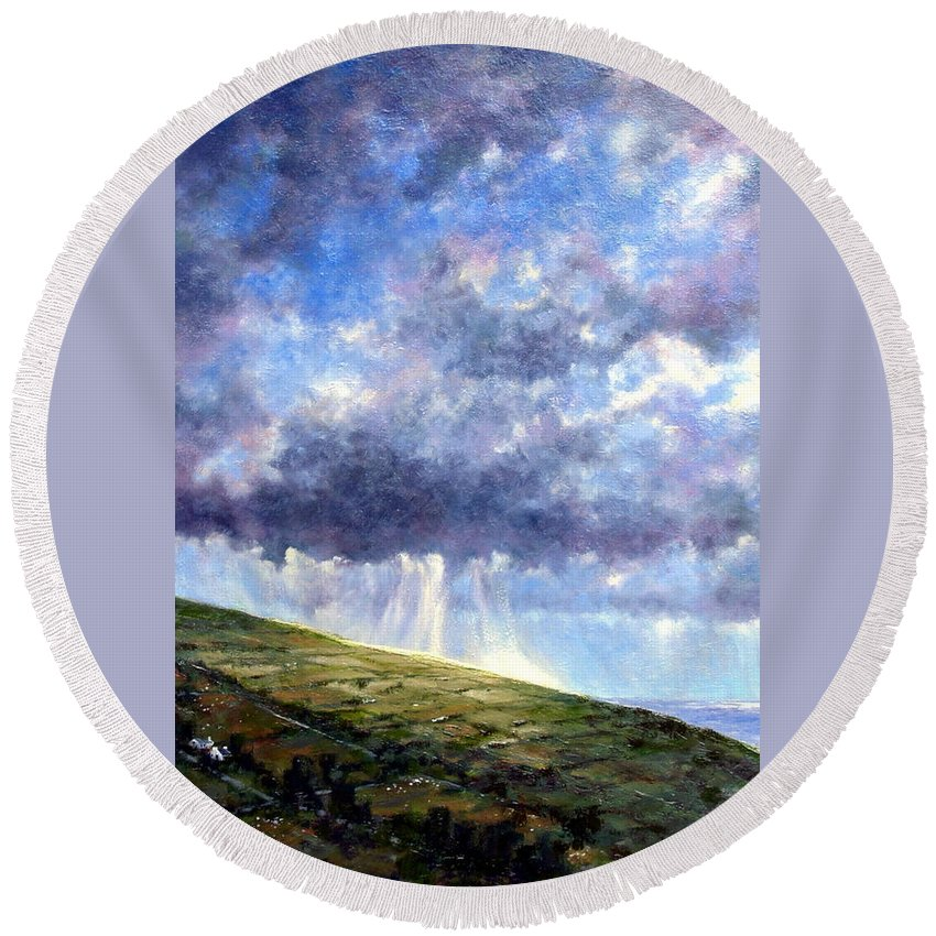 Oil Painting Round Beach Towel featuring the painting Cloud Burst Ireland by Jim Gola