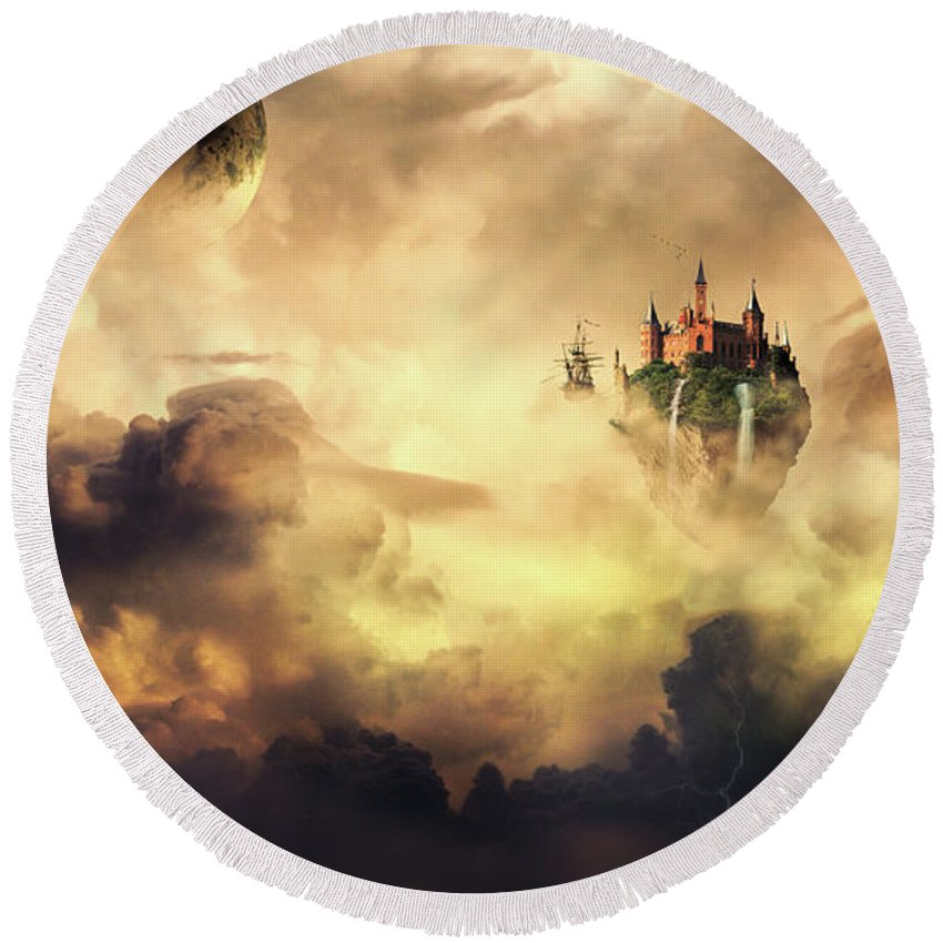 Fantasy Art Round Beach Towel featuring the photograph Cloud Castle by Ponte Ryuurui