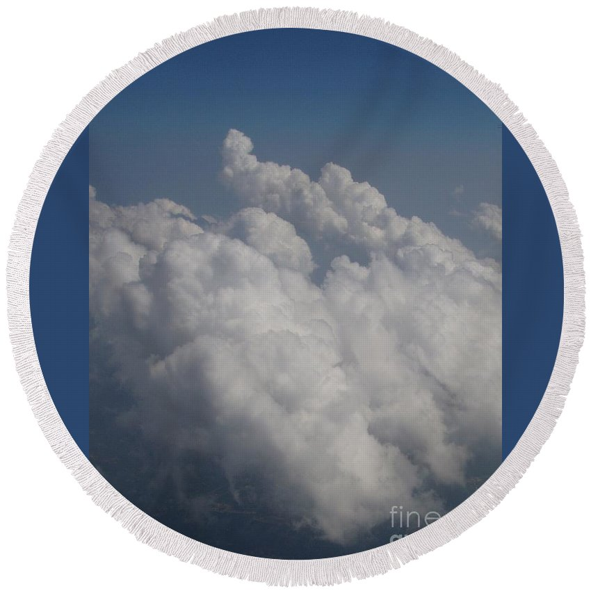 Clouds Round Beach Towel featuring the photograph Cloud Depth II by Deborah Crew-Johnson