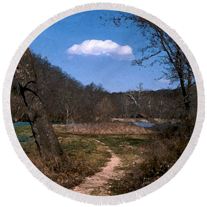 Landscape Round Beach Towel featuring the photograph Cloud Destination by Steve Karol