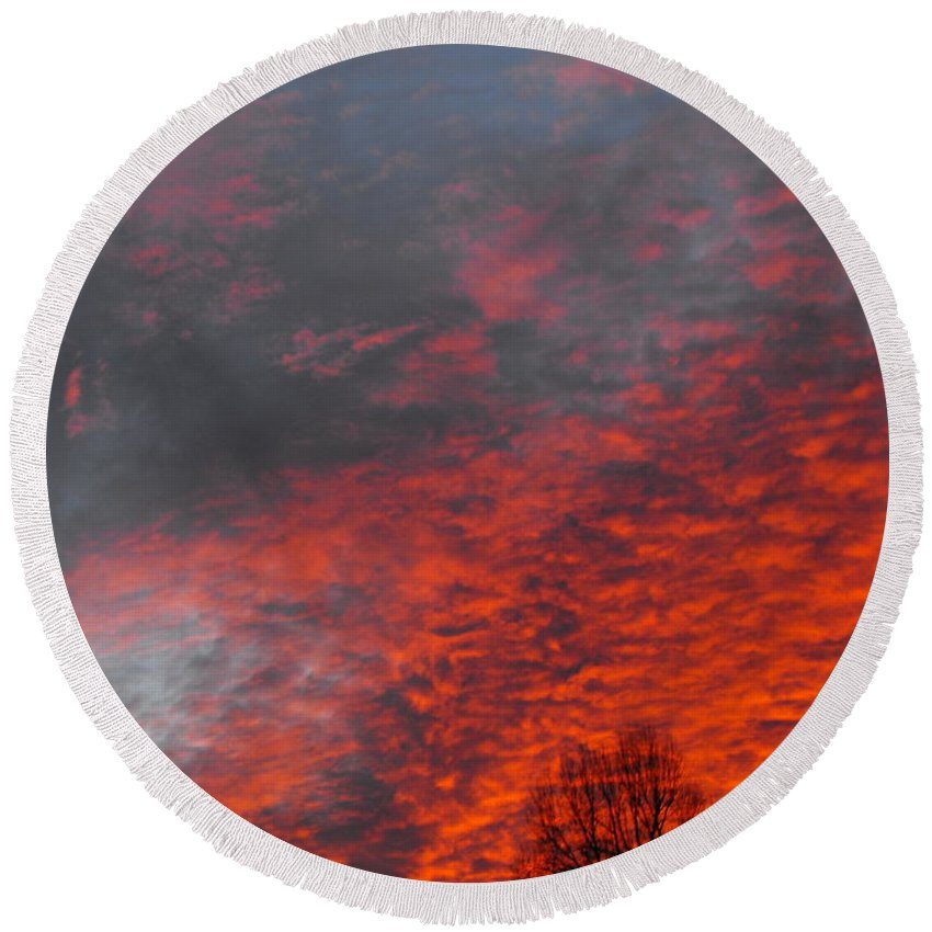 Cloud Fire With Rays Round Beach Towel featuring the photograph Cloud Fire With Rays by Ginger Repke