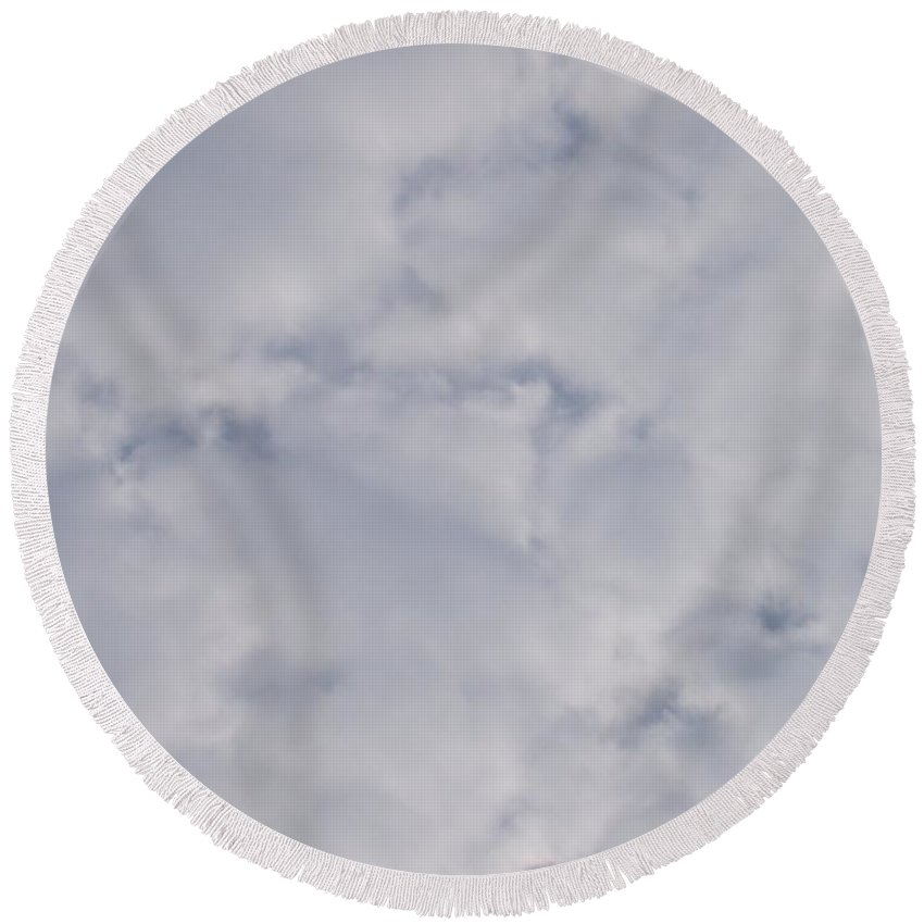 Clouds Round Beach Towel featuring the photograph Cloud Mass - Fist Holding Arrowhead - Look Closely by Deborah Crew-Johnson