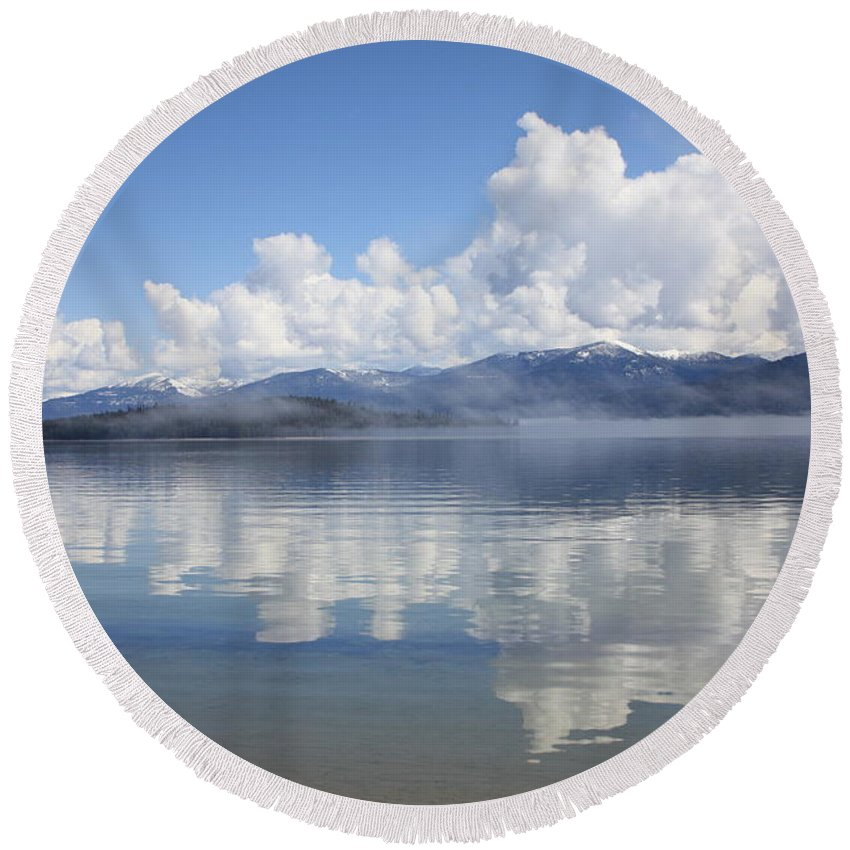 Clouds Round Beach Towel featuring the photograph Cloud Reflection On Priest Lake by Carol Groenen