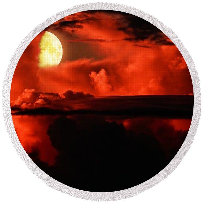 Emotion Round Beach Towel featuring the photograph Cloud Rider by Max Steinwald