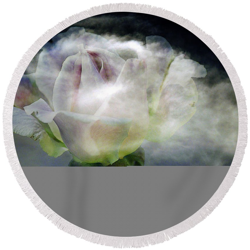 Clay Round Beach Towel featuring the photograph Cloud Rose by Clayton Bruster