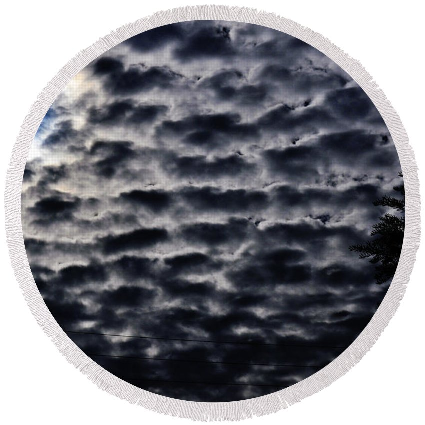 Clay Round Beach Towel featuring the photograph Cloud Tiles by Clayton Bruster