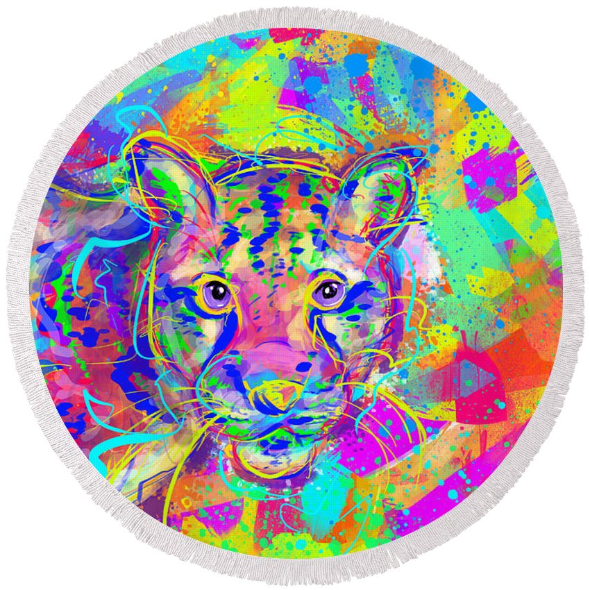 Ocean Round Beach Towel featuring the digital art Clouded Leopard by Morgan Richardson
