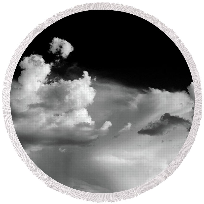 Round Beach Towel featuring the photograph Clouds 1 by Jean Scherer