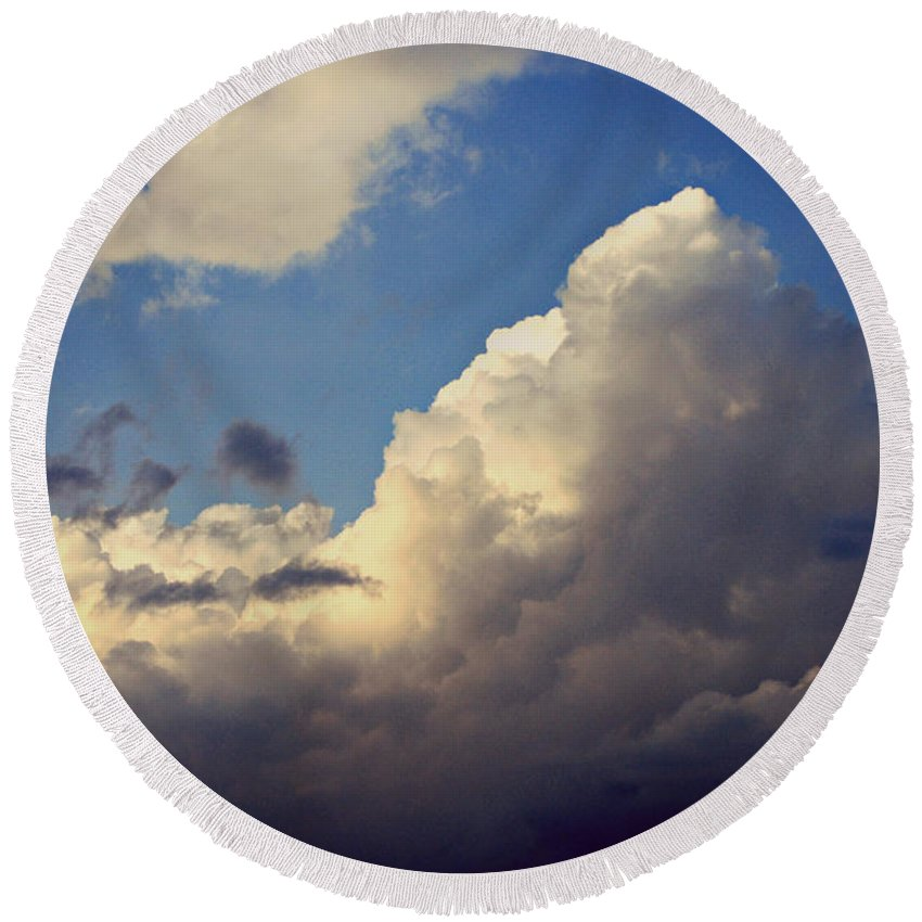 Clouds Round Beach Towel featuring the photograph Clouds-3 by Paulette B Wright